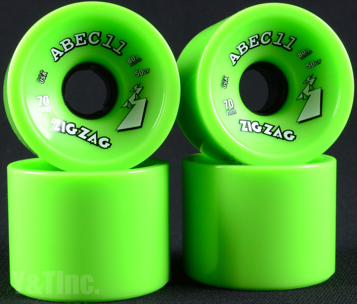 ABEC11 Zig Zags 70mm 80a Limes 1